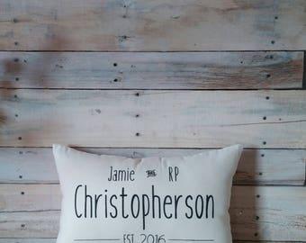 Personalized Name Pillow, Established Pillow, Housewarming Gift, Wedding Gift, Engagement Gift, Throw Pillow, Decorative Pillow