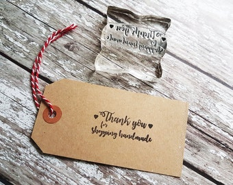 Thank You for shopping handmade Stamp - Product Tags - Packaging Stamp - Thank You