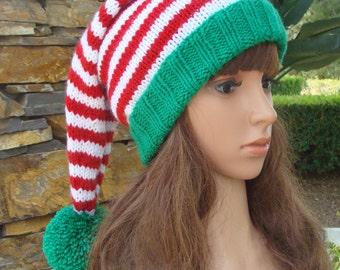 DIY- Knitting PATTERN #151:  Santa Knit Hat with Pom-pom Pattern, Santa hat pattern, Santa hat, Size Teen/Adult - Digital Pattern