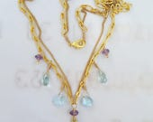 Necklace - Saint Mary Magdalene Amethyst, Blue Topaz & Aquamarine Necklace - 18K Gold Vermeil