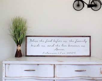 Personalized Bless The Food Before Us Wood Sign Family Wooden Established Wall Art Christian Word