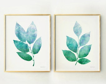 Blue and green leaves Botanical art print set of 2 wall prints, Living room wall art decor, Botanical prints Home decor Printable art prints