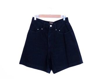 "Vintage 90s Western Navy Blue High Waisted Denim Shorts Size 30"" Waist"