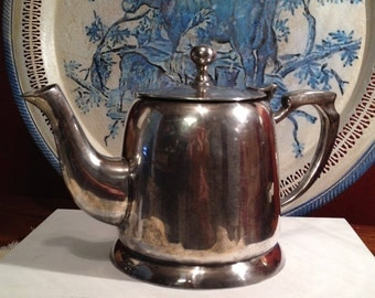 16 oz. Hotel Silver Teapot Collectible Vintage Coffee Pot, Creamer, Pitcher, Americana Decor, English Cottage, Farmhouse, French Country
