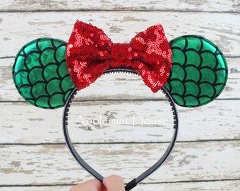 FOR KIDS!  Mermaid Minnie Ears,Minnie Mouse Headband,Minnie Mouse Headband,Glitter Minnie Ears ,Minnie Mouse Headband,Mickey Mouse Headband