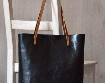 Black Leather Tote Bag – MINIMAL CHIC in Black - Medium Size Handmade Leather Tote