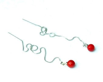 Coral Earrings, Sterling Silver Threader Earrings, Coral Chain Earrings, Dangle Red Stone Ear Thread Earrings Gold, Thread Through Earrings