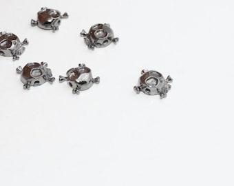 10 Pcs Gunmetal Dangerous Charms, Skull Beads, Gunmetal Skull Beads, 10mm , KDR136