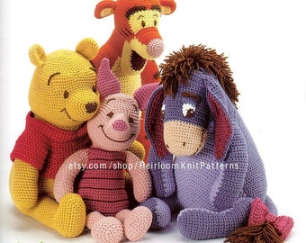 Winnie the Pooh and Friends Crochet Pattern PDF Baby Stuffed Toys Winnie the Pooh Tigger Eeyore Piglet Pattern Instant download PDF
