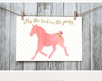 Pin the Tail on the Pony. Coral. Pin the Tail Game. Horse Party Printable. Watercolor Horse Party. Pony Party. Coral and Gold. DIY