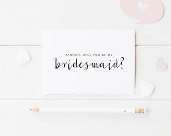 Will You Be My Bridesmaid? Personalized Wedding Invitation Card, Personalised Bridesmaid Wedding Card, Maid of Honour, Flower Girl, Best Man