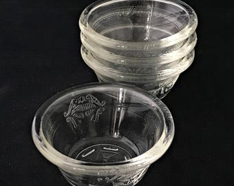 4 Vintage GLASBAKE Custard Cups #286 Pat. 1919 Glass Bowls Ramekins Kitchenware Ovenware