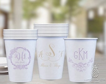 Wedding Cups | Monogram Cup | Paper Party Cups