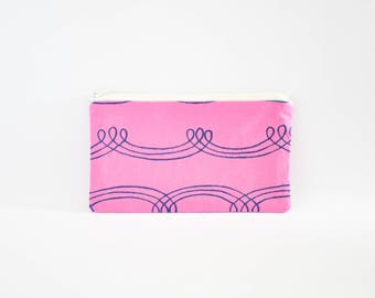 Small Zipper Pouch, Zipper Bag, Makeup Pouch, Cosmetic Pouch, Coin Purse, Bag Storage Organiser - Purple Squiggle Lines