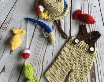 Fishing Outfit - Newborn Photo Prop - Newborn Photo Outfit - Photo Prop Boy - Fisherman - Baby Shower Gift - Photo Outfit Boy - Matching Set