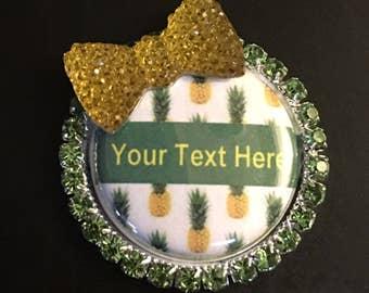 Pineapple nurse Badge Reel Retractable lanyard, bling bow rhinestones RN appreciation week gift, stethoscope id tag, girl bling gump art