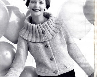 Womens 50s Vintage Cardigan Knitting Pattern with Large Ribbed Collar