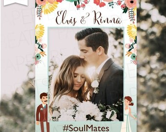 Wedding Photo Booth Frame - Floral Wedding Photo Frame - Wedding Characters - Marco para fotos - Just Married Frame - Digital File