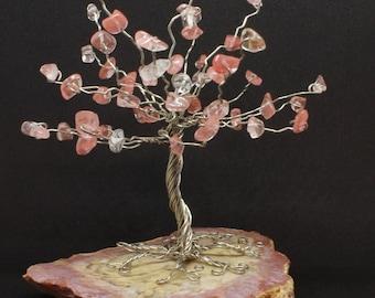Wire tree sculpture, gemstone tree, rose quartz chip tree, wire wrap tree, miniature tree, wire tree of life, gift
