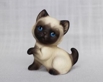 Sweet Siamese Kitten Figurine, Seal Point Siamese Kitten Miniature, Collectible Small Siamese Cat Ornament, Japan
