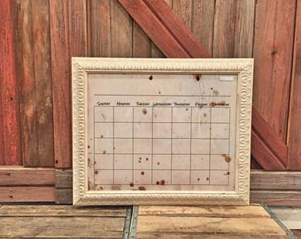 dry erase calendar 16x20 grunge background shabby chic rustic picture frame dry erase monogram large calendar