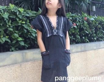 Kids dress inspiration from tribal Karen dress made by Thai local cotton fabric.