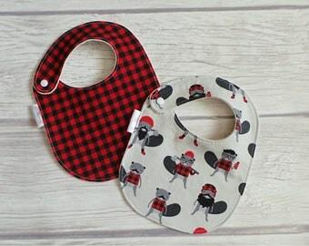 Lumberjack Baby Bib Set / Drool Bibs / Organic Cotton Fleece / Hipster Baby / Buffalo Plaid / Baby Boy