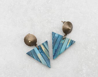Dangle Triangle Earrings Drop Minimalist Geometric Earrings Modern urban Jewelry polymer clay earrings