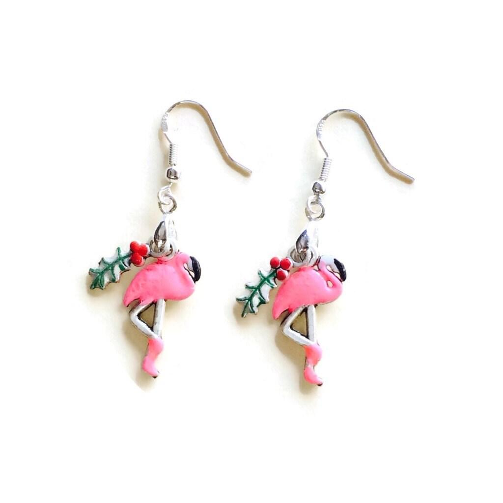 flamingo earrings 925 sterling silver wires