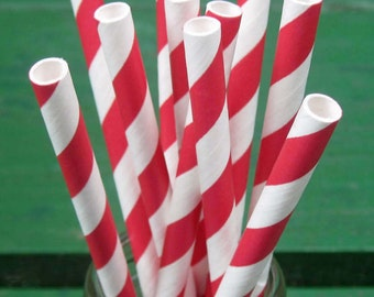 Paper Straws, 600 Party Straws, Red Straws, Red and White Straw, Striped Paper Straws, Bulk Straws, Party Supplies, Red Decoration