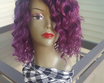 READY TO SHIP: Human Hair Blend Non-Lace Ombre 1B/Purple  Full Wig