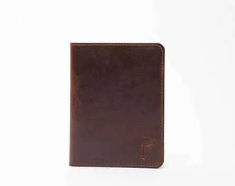 Personalized Handmade Leather Golf Scorecard Holder Minimalist Horween Chromexel brown leather Golf Gifts for Men