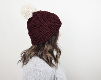 Knit Hat Chunky Red Tuque - The 'Snowdon' Chunky Knitted Maroon Women's Hat in 'Raisin'