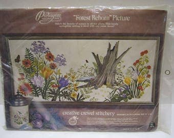 Crewel Embroidery Kit Crewel Kit Stitchery Kit Flowers Forest Animals Butterfly Retro Vintage Wall Decor Hanging Forest Reborn Picture 18x40