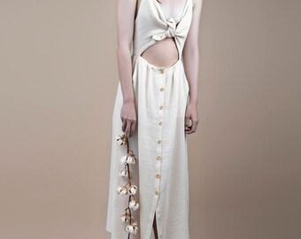Summer dress, romantic dress, cotton dress, dress with buttons, women dress unique, holiday dress, light dress, retro dress.