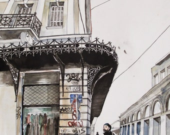 City Cycler, Original watercolour painting, Athens City Art, Urban Lifestyle, Athens City Centre Architecture, Athens Buildings, Cycling Art