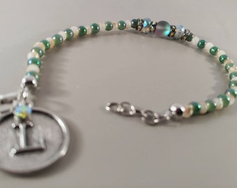 Genuine Blue moon and  jade bead accented bracelet