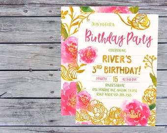 Floral Birthday Invitation, Floral Invitation, Spring Birthday Invitation, Spring Invitation, Floral Birthday Invites, Spring invite, theme,
