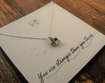 "Elephant Necklace ""You Are Stronger Than you Think"" // Necklace with Silver plated Elephant pendant// Elephant charm// Bravery jewelry"