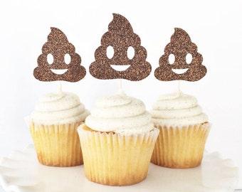 Poop Emoji Cupcake Toppers / Emoji Party Decorations / Emoji Birthday / Poop Face Emoji / Holy Sh*t You're Old / Emoji Cupcake Toppers