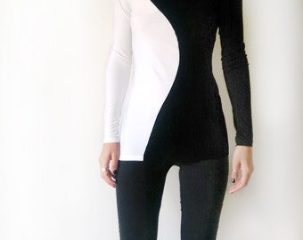 Elegant Black and White Long Sleeved T-shirt/Yin Yang Women's Top /Minimalist Black and White Top
