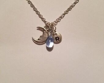 Birthstone March Aquamarine necklace moon Aquamarine March birthstone Aquamarine moon birthstone necklace Aquamarine birthstone moon charm