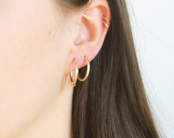 Gold hoops - big gold hoop earrings - chunky gold hoops - 9ct gold hoops - 9ct hoops - gold hoop earring - gold hoops -  bead hoop - TC6605