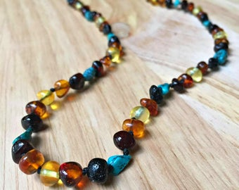 Turquoise and Amber Necklace for adults, headaches, migraines, anxiety relief, natural pain relief, adult amber necklace, turquoise necklace