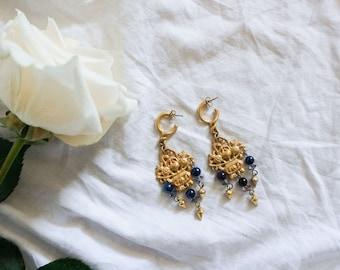 vintage Basket of Flowers earrings