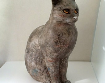 """60% OFF Sitting cat statue 15"""" Grey-red marble color - life size, modern, unique, original - Handmade by ARILAN"""