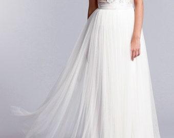 Bridal skirt, Long tulle skirt, Soft tulle skirt, Long bridal skirt in white or Ivory