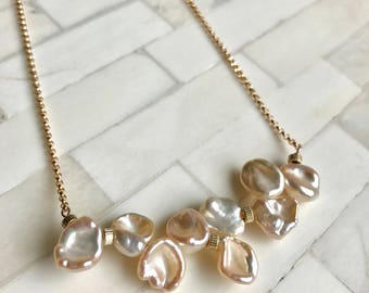 Stunning Keishi Pearls, 14k GF accent beads on 14K GF necklace