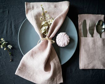 Linen Napkins set, softened linen table textile, stonewashed linen handmade napkins, different sizes, pink