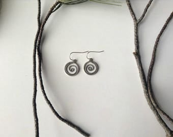 spiral hoop earrings, sterling silver handmade earrings, feminine tribal